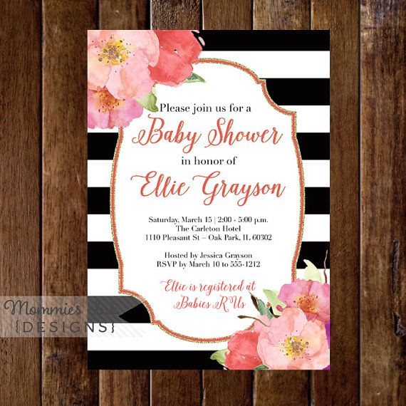 Watercolor Flowers Baby Shower Invitation, Black And White