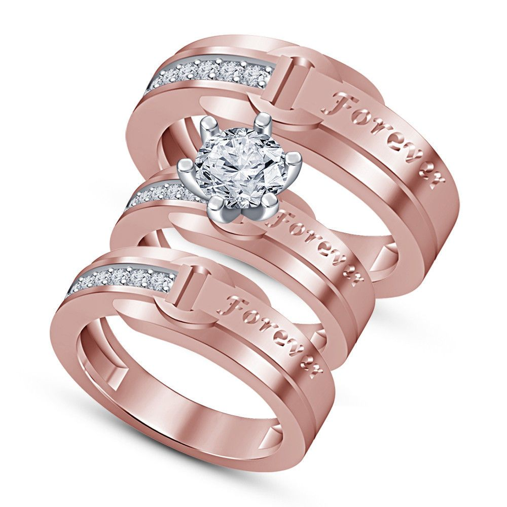 1.80 CT Diamond Trio Set Engagement Ring Wedding Band Rose Gold Over ...