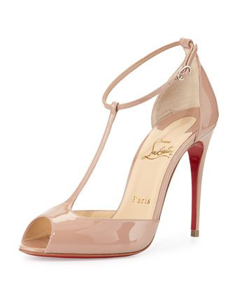 Senora Patent T-Strap Red Sole Sandal, Nude by Christian Louboutin at Neiman Marcus.