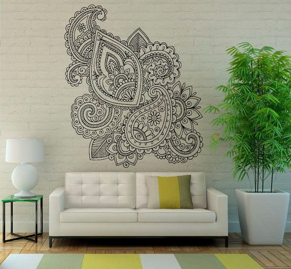 Mehndi Wall Vinyl Decal Mandala Lotus Stickers Art Design Murals