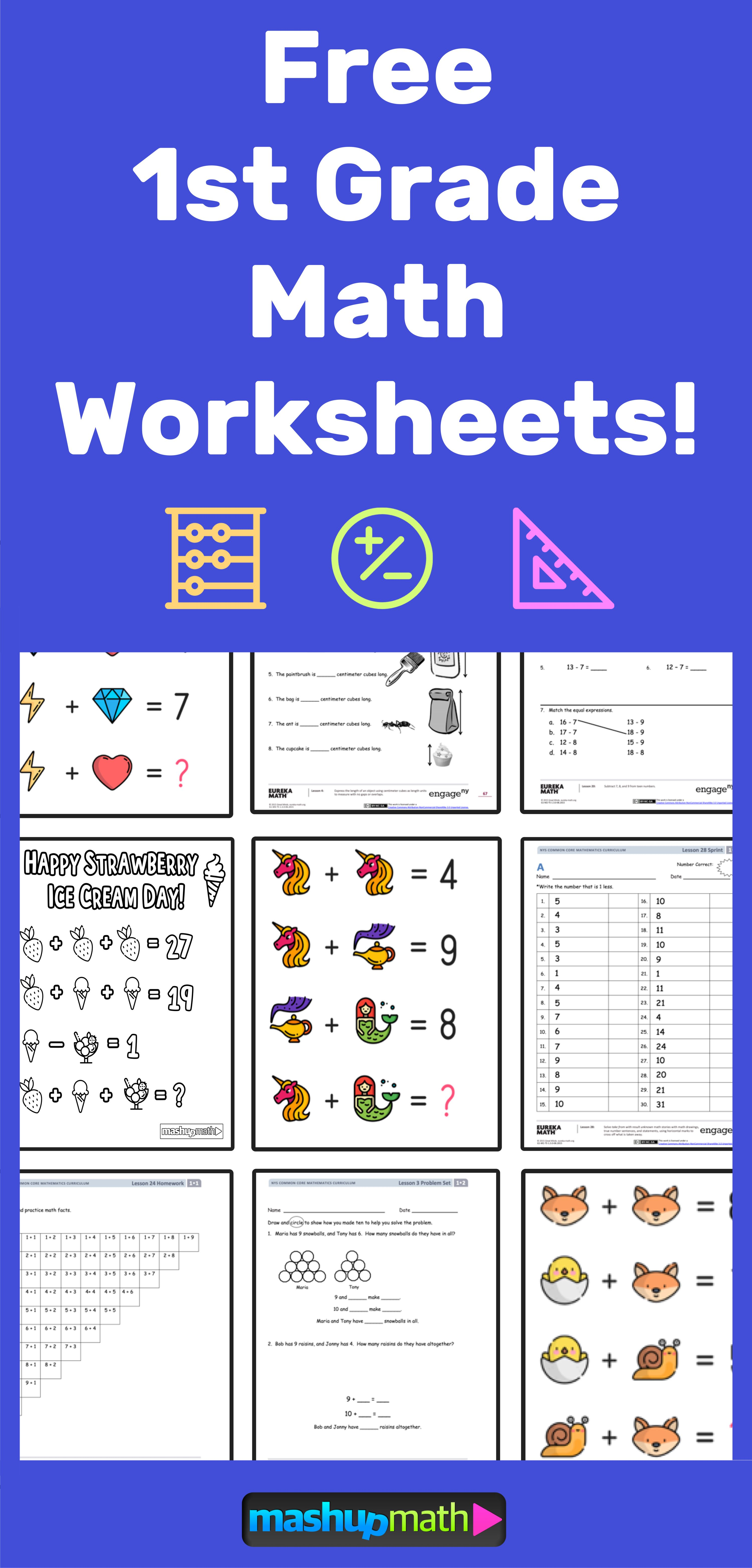 The Best Math Worksheets For 1st Grade Students Mashup Math Math Worksheets 1st Grade Math Worksheets First Grade Math Worksheets [ 6249 x 2999 Pixel ]