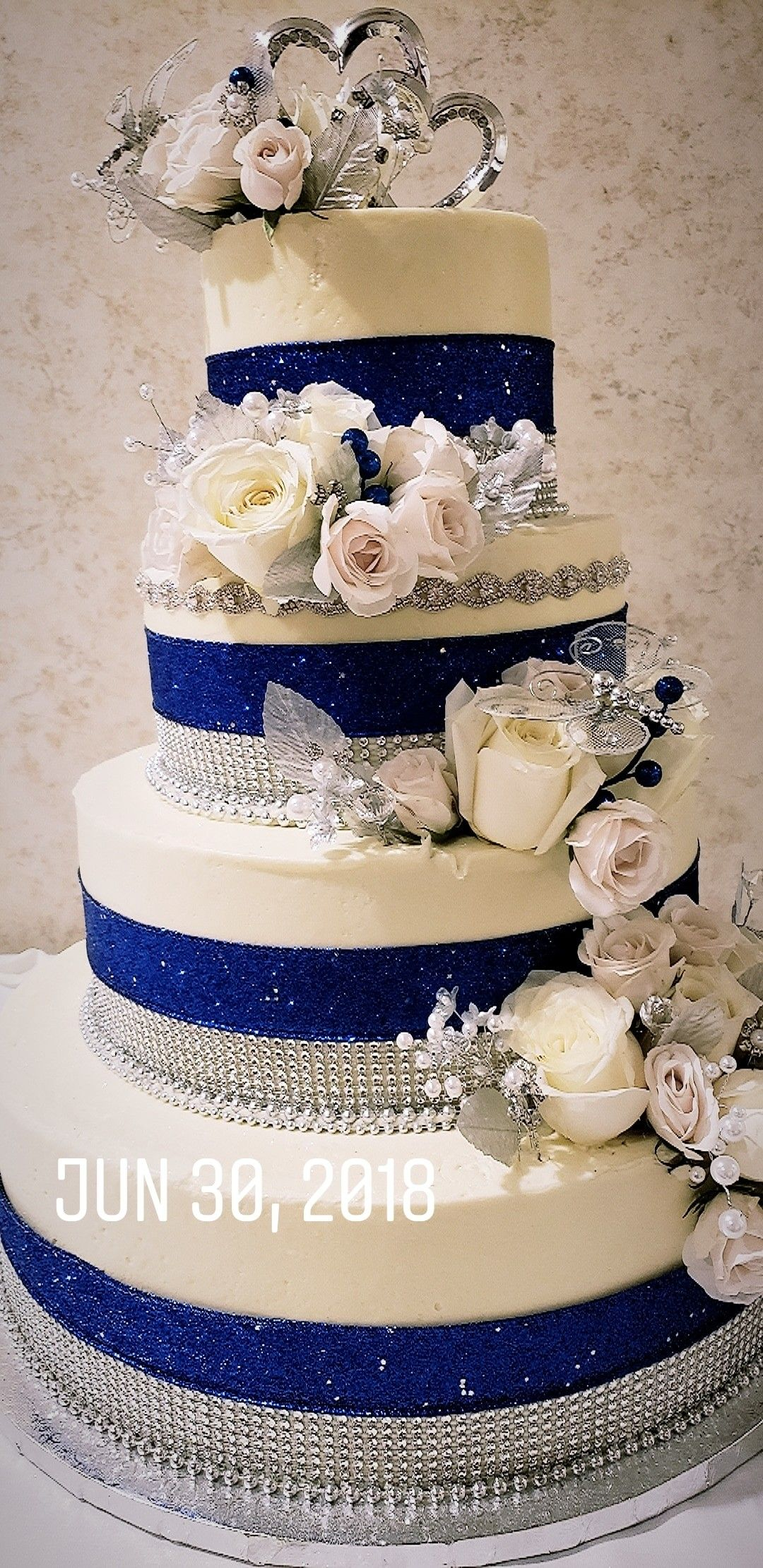 Blue and silver wedding cake cakes that i made in