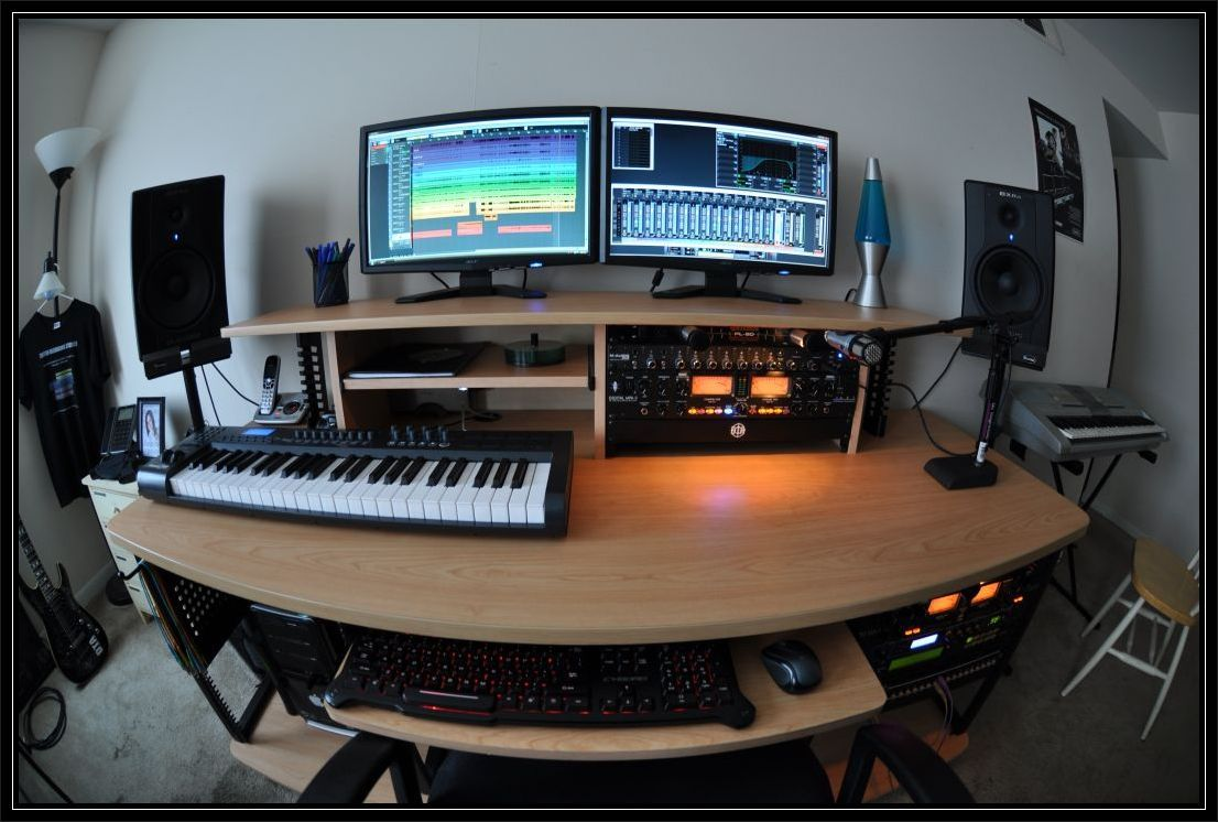 modern recording studio desk for home recording studio design ideas