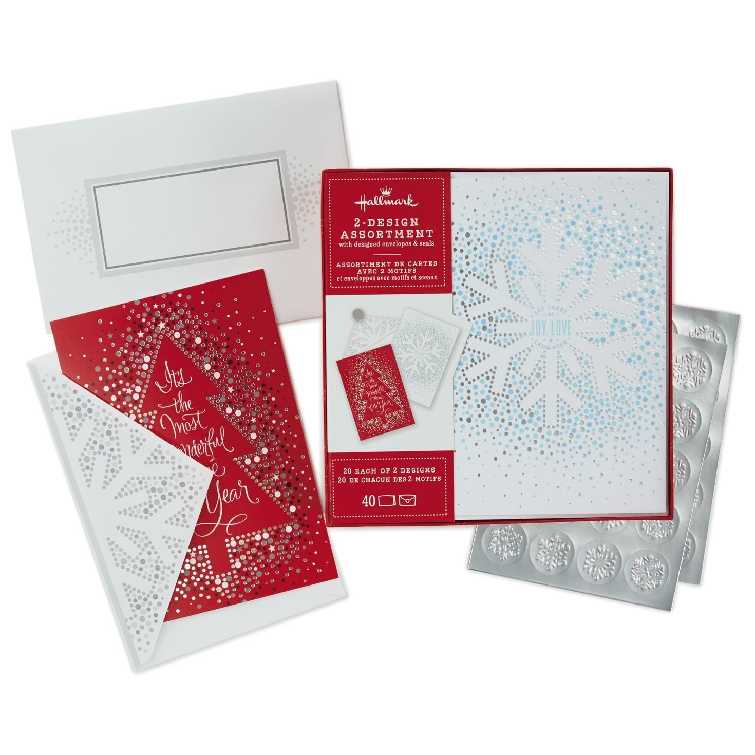 Snowflake and Christmas Tree 2-Pack Boxed Christmas Cards With Seals ...