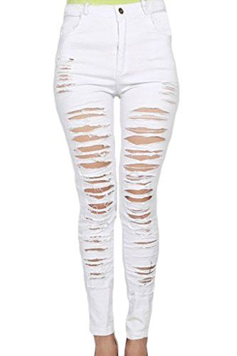 b5d05831c26d3 Price 13  Sidefeel Women Denim Destroyed High-waist Skinny Jeans Me ...