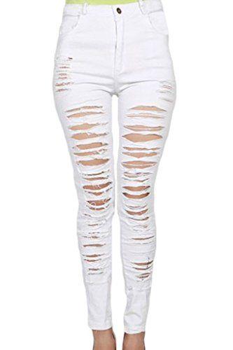 e2205959538ff Price 13  Sidefeel Women Denim Destroyed High-waist Skinny Jeans Me ...