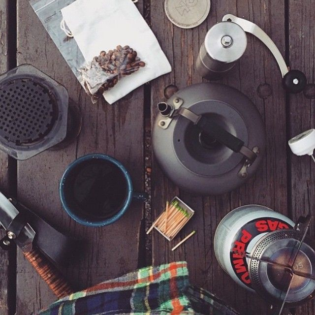 Camp AeroPress coffee ft. Porlex Grinder, Kohi Filter & Enamelwares mug..