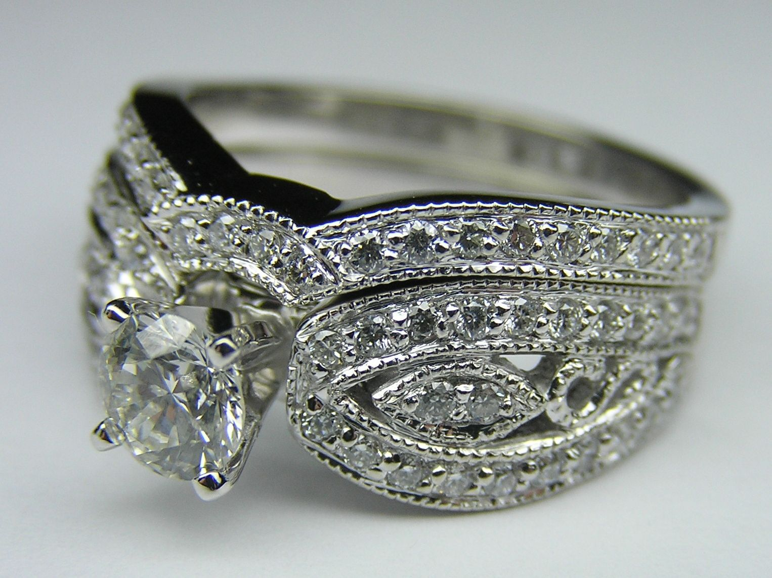 Diamond Butterfly Engagement Ring & matching Wedding band
