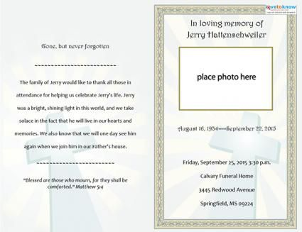 Folded Funeral Template  My Sweet Momma    Template