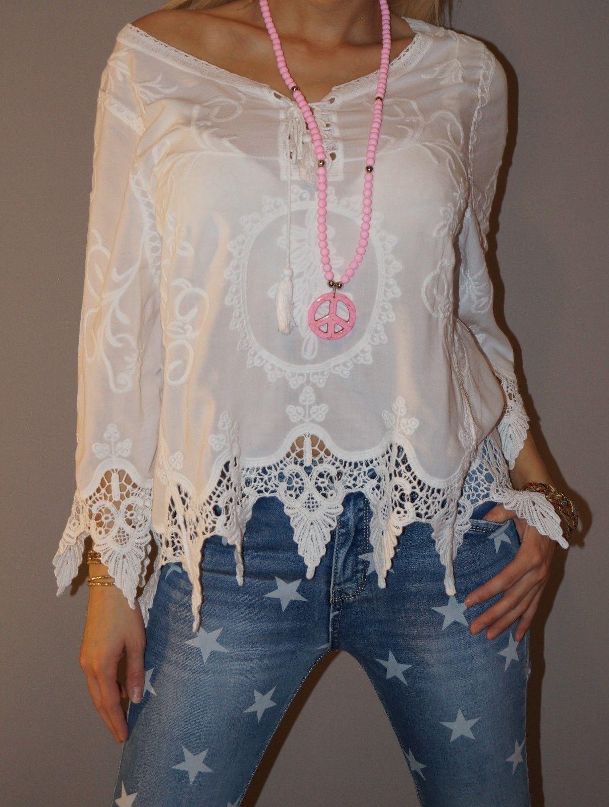 NEU Häkel Tunika Hippie Sexy Bluse Blogger Shirt Kurz S 36-40 M Weiß Trend