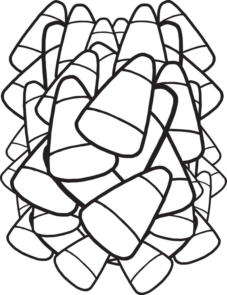 Printable Candy Corn Coloring Page for Kids Halloween