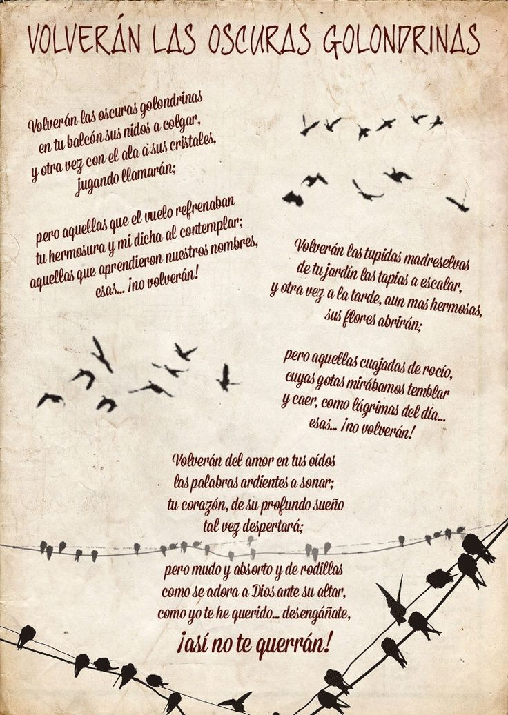 Volveran Las Oscuras Golondrinas De Gustavo Adolfo Becquer Buscar Con Google Becquer Poemas Poemas Versos