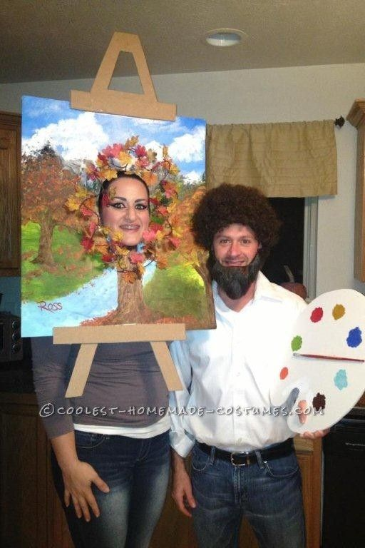 Last-Minute Halloween Couple Costume Bob Ross and his Happy Little - pregnant couple halloween costume ideas