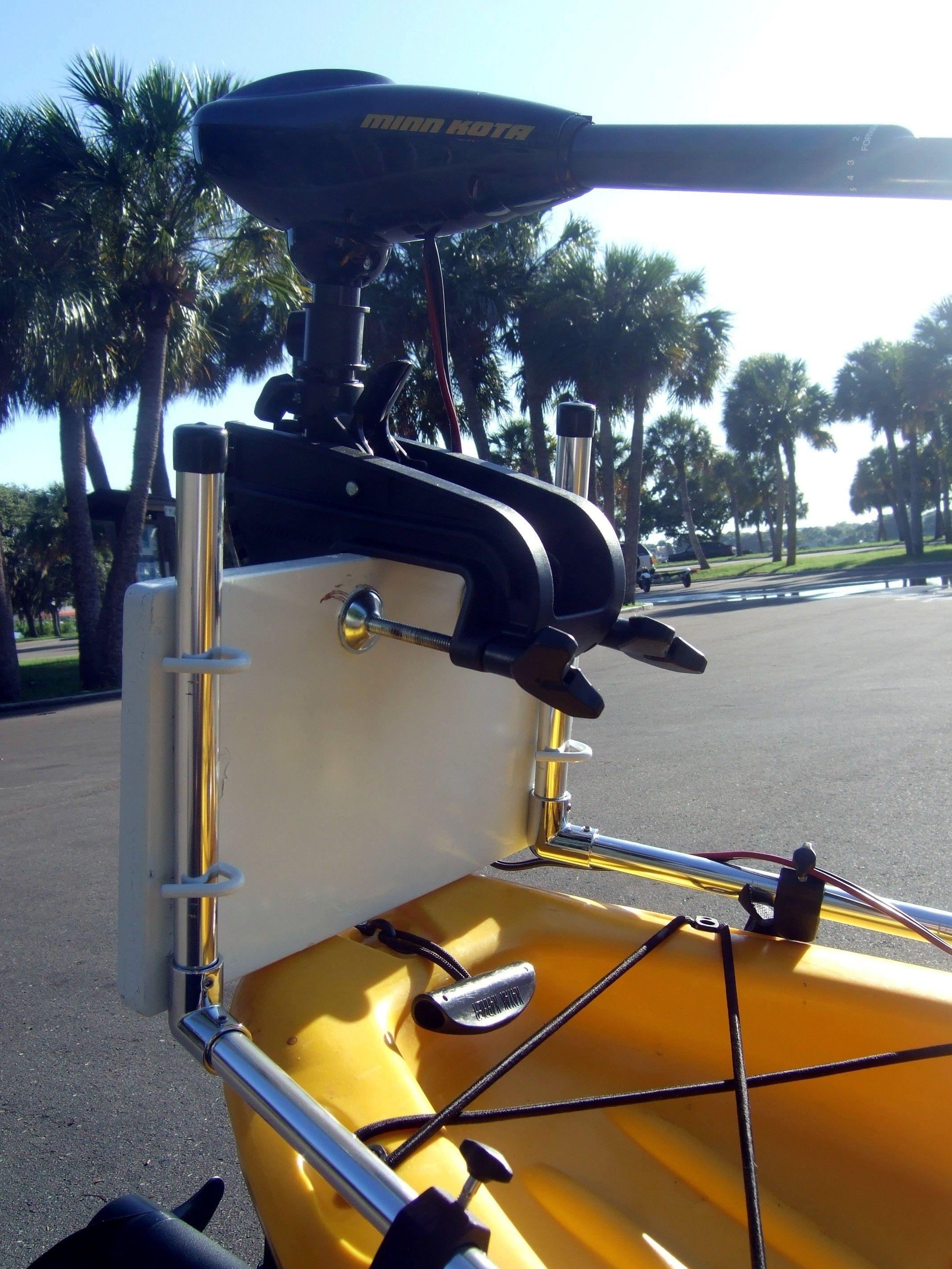 universal trolling motor bracket for your kayak or canoe