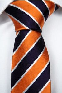 untied bow tie Tieroom, Notch HAWK, stripes in marine blue, orange & white Notch