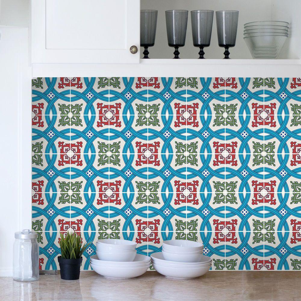 Tile Sticker Transfers Traditional Seamless Vintage Kitchen Custom ...