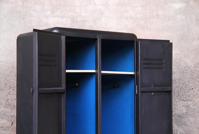 vestiaire armoire m tal vintage industriel relook bleu. Black Bedroom Furniture Sets. Home Design Ideas