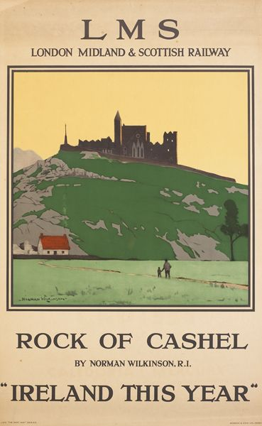 Vintage LMS Rock of Cashel Ireland Railway Poster A3//A4 Print