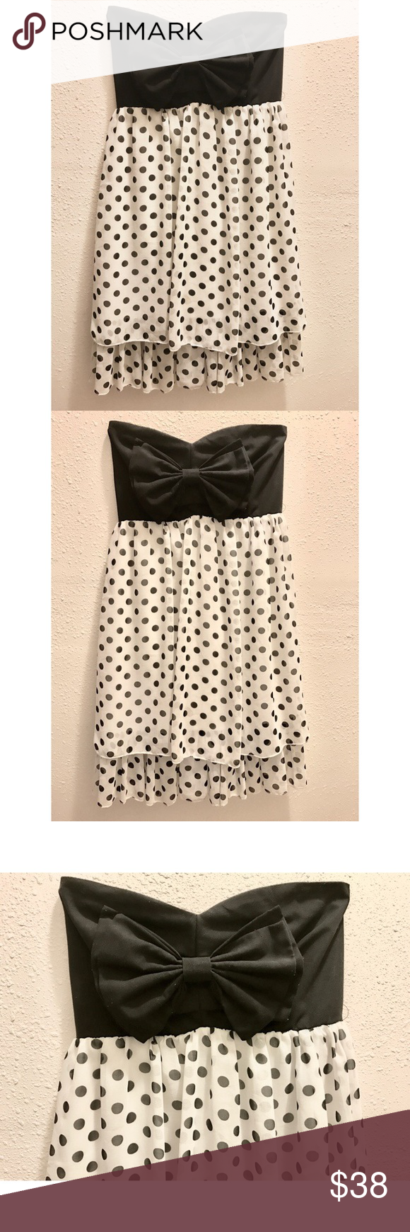 Strapless Bow Dress Beautiful Black Bow Polka Dot Dress. Not sure what brand it is. Abercrombie & Fitch Dresses