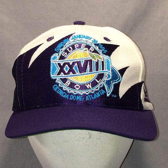 97fddeef071 Vintage Rare Dallas Cowboys vs Buffalo Bills Super Bowl XXVIII NFL Football  Hat Purple White Snapbac