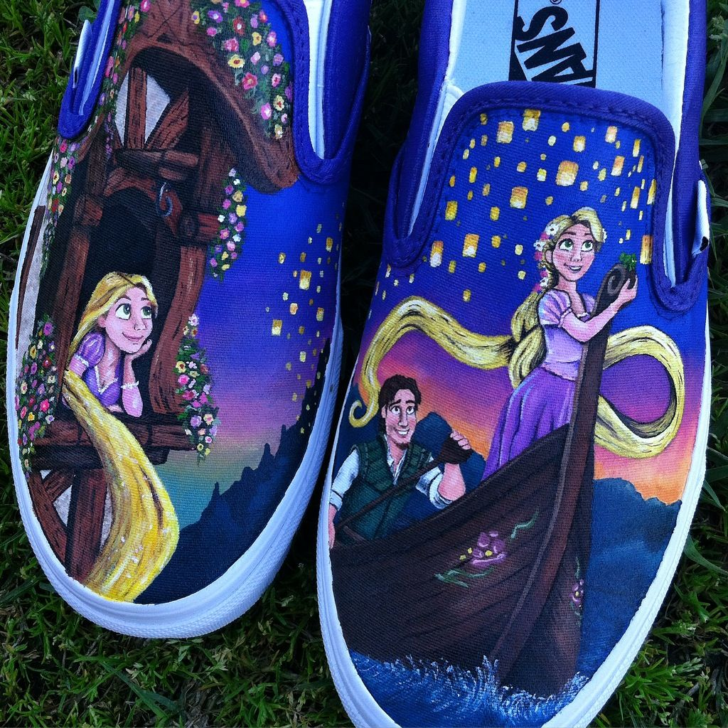 Disney Tangled Inspired Painted Vans Shoes - Rapunzel Flynn Rider Pascal  Floating Lanterns Tower - I can paint pretty much any design on Toms Bobs  Converse ... be59c428c