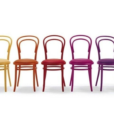 Michael Thonet Designed A14 CU Bentwood Chairs With Upholstered Seats And  Lacquered Frames