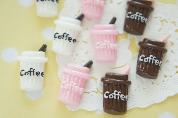 9 pcs Iced Coffee Paper Cup Cabochon 16mm27mm CD657 by misssapporo