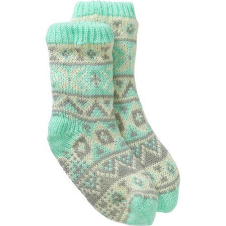 Ladies Frosty Fairisle Chunky Slipper Sock with Faux Fur Lining ...