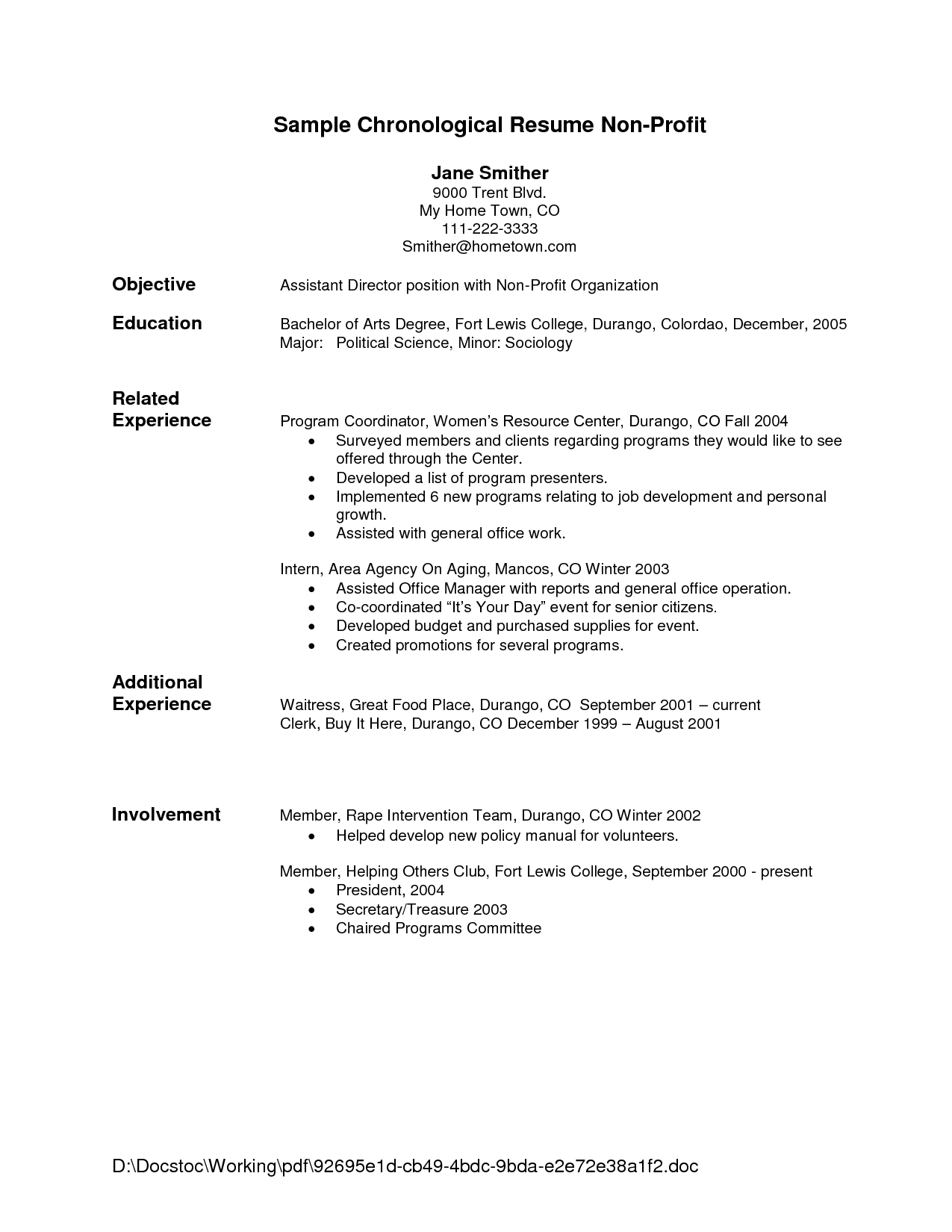 Resume Objective For Waitress