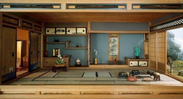 intérieur japonais avec écrans en bambou