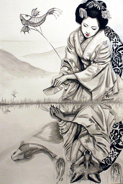 Asian Tattoos Illustrations: The Fox Woman ~segdavinci . . . . ღTrish W