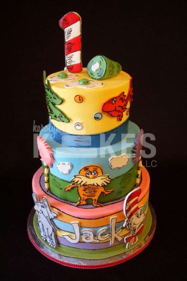 Dr Seuss Birthday Cake Top 2 Tiers Iced In Buttercream Bottom Tier