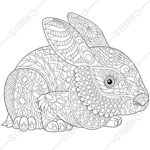 Coloring pages. Easter Bunny. Christmas Rabbit. Adult