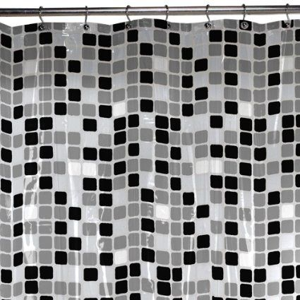 Amazon Com Maytex Tiles Peva Shower Curtain Black Shower