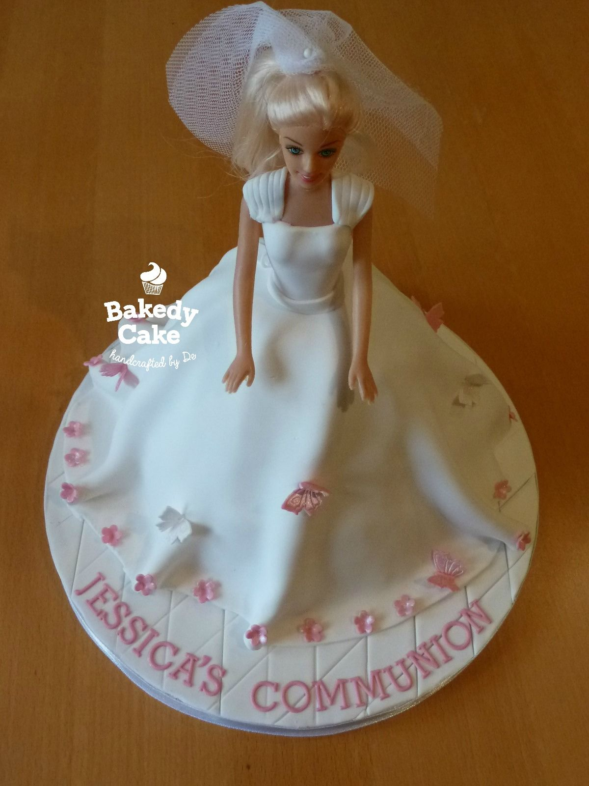 Blonde Doll First Communion Cake Decorated With Butterflies And