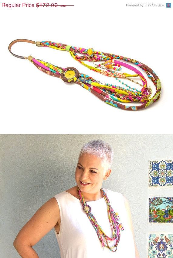 SUMMER SALE Miulticolor long fabric Necklace - Textile layered necklace - Ethnic Hippie Jewelry - gift idea