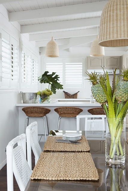 Fantastic Kitchen And Dining Space With Woven Pendants And Bar Stools.  Beautiful All White Walls And Ceiling. Great Beach House Look.