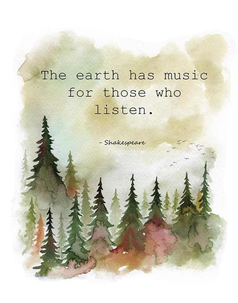the earth has music for those who listen, Shakespeare quote, inspirational quote, Shakespeare wall art, forest wall art, nature quote print