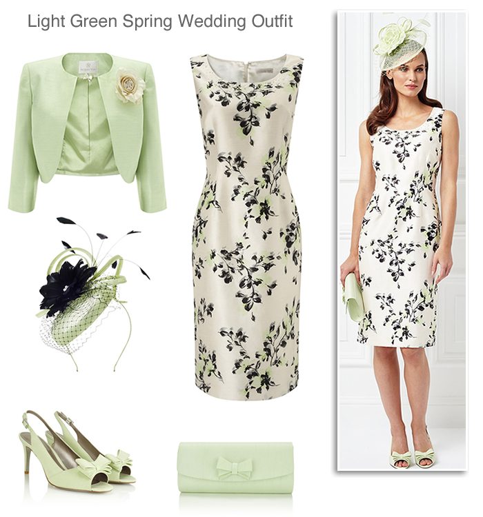 98ab104f30a5 Jacques Vert light green Mother of the Bride dress and matching jacket  shoes hat and bag spring summer complete wedding outfit ideas