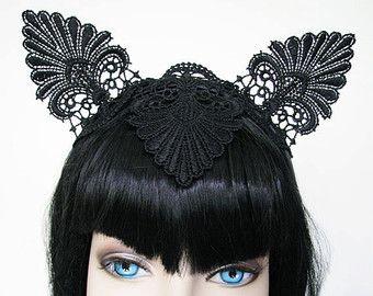 Black Lace Cat Ear Crown Burlesque Headband Fantasy Race Fascinator Horse  racing Headpiece 99974c58a9c
