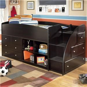 Embrace Twin Loft Bed With Right Storage Steps, Bookcase U0026 Chest By  Signature Design By Ashley
