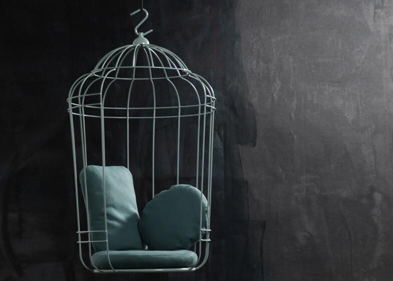 Whimsical bird cage swing chair...in mint!