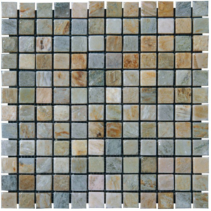 1 Quot X 1 Quot Slate Mosaic Tile In Golden White With Images
