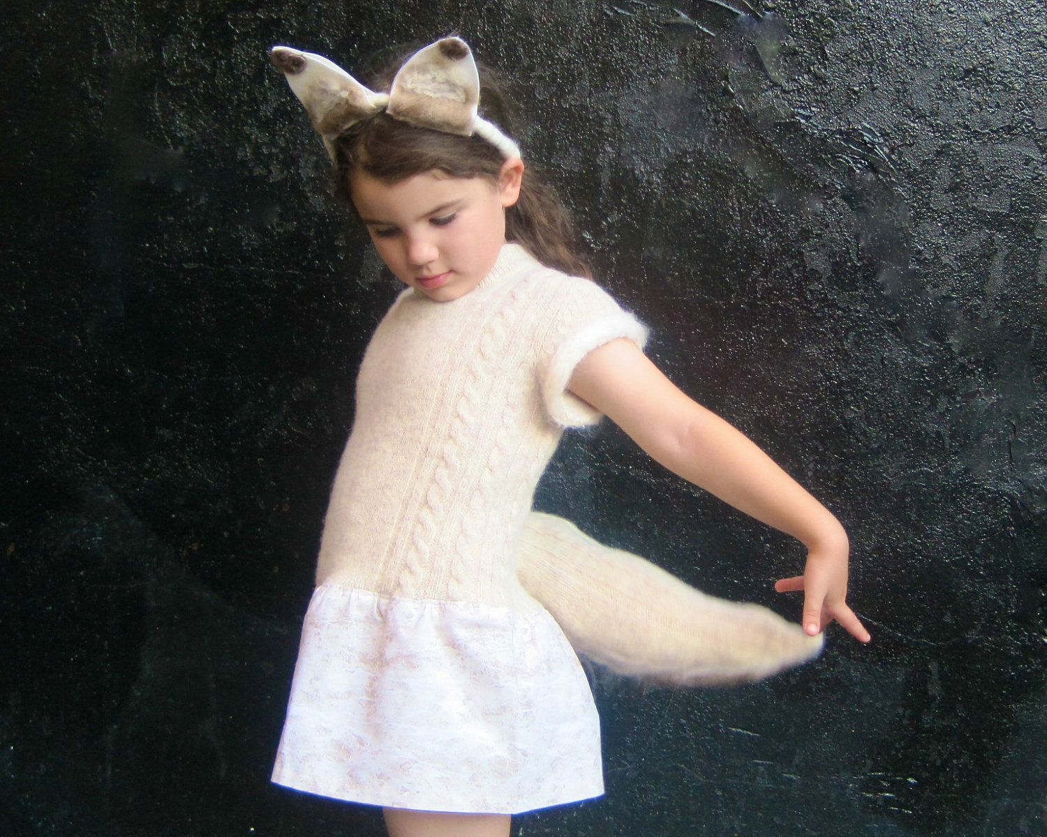 Arctic Fox Tail and Headband Costume - Halloween Girls White Fox Animal WOOL Hat and Tail Only - Eco Friendly Kids. $38.00, via Etsy.