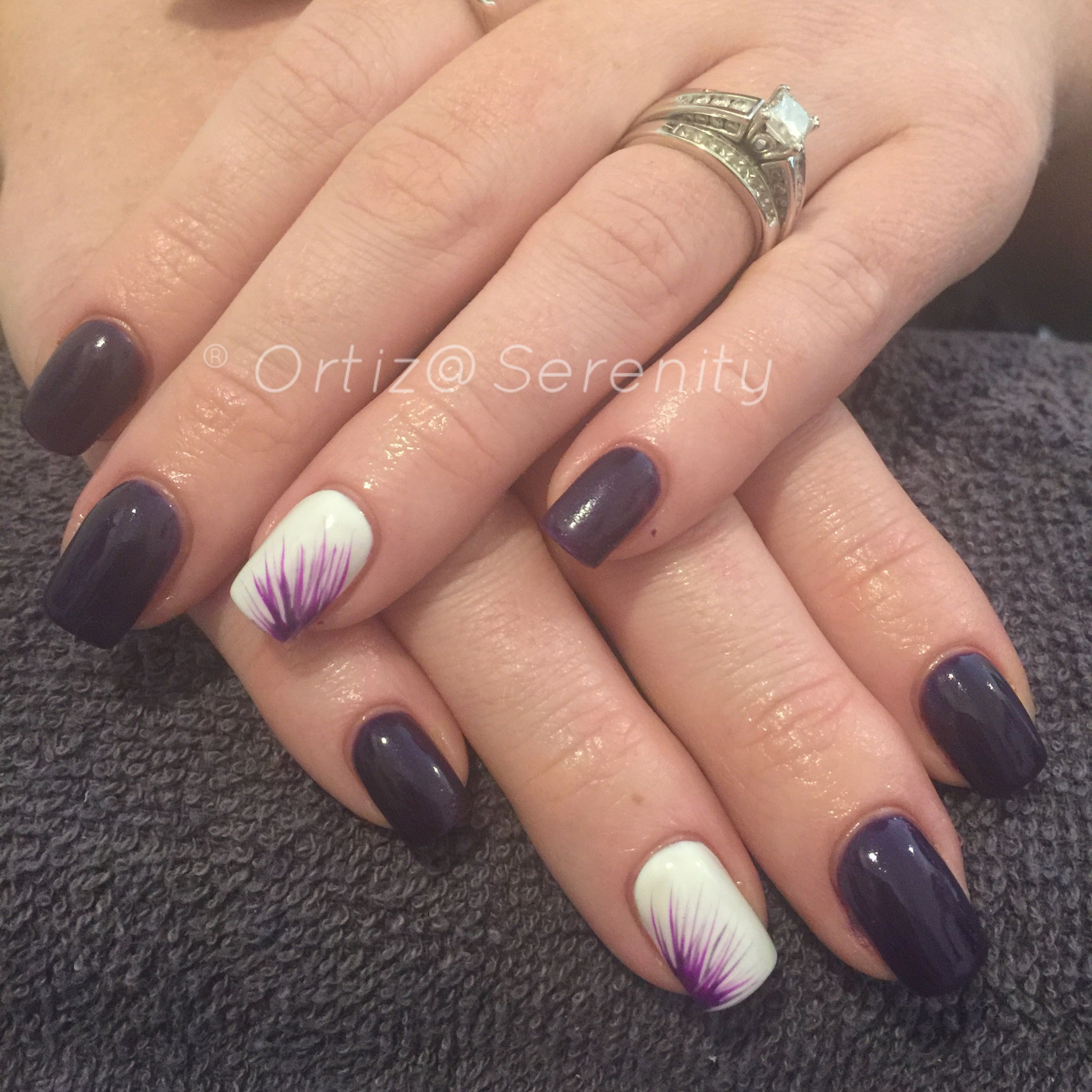 Purple and white nail design | Nail art | Pinterest | White nail ...