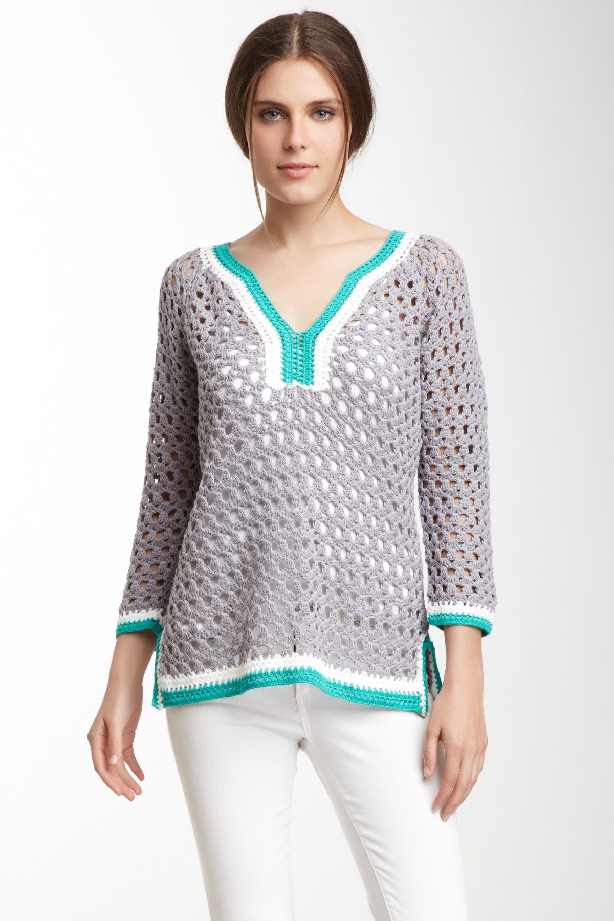 V-Neck Crochet Tunic on HauteLook, туника крючком | Crochet | Pinterest