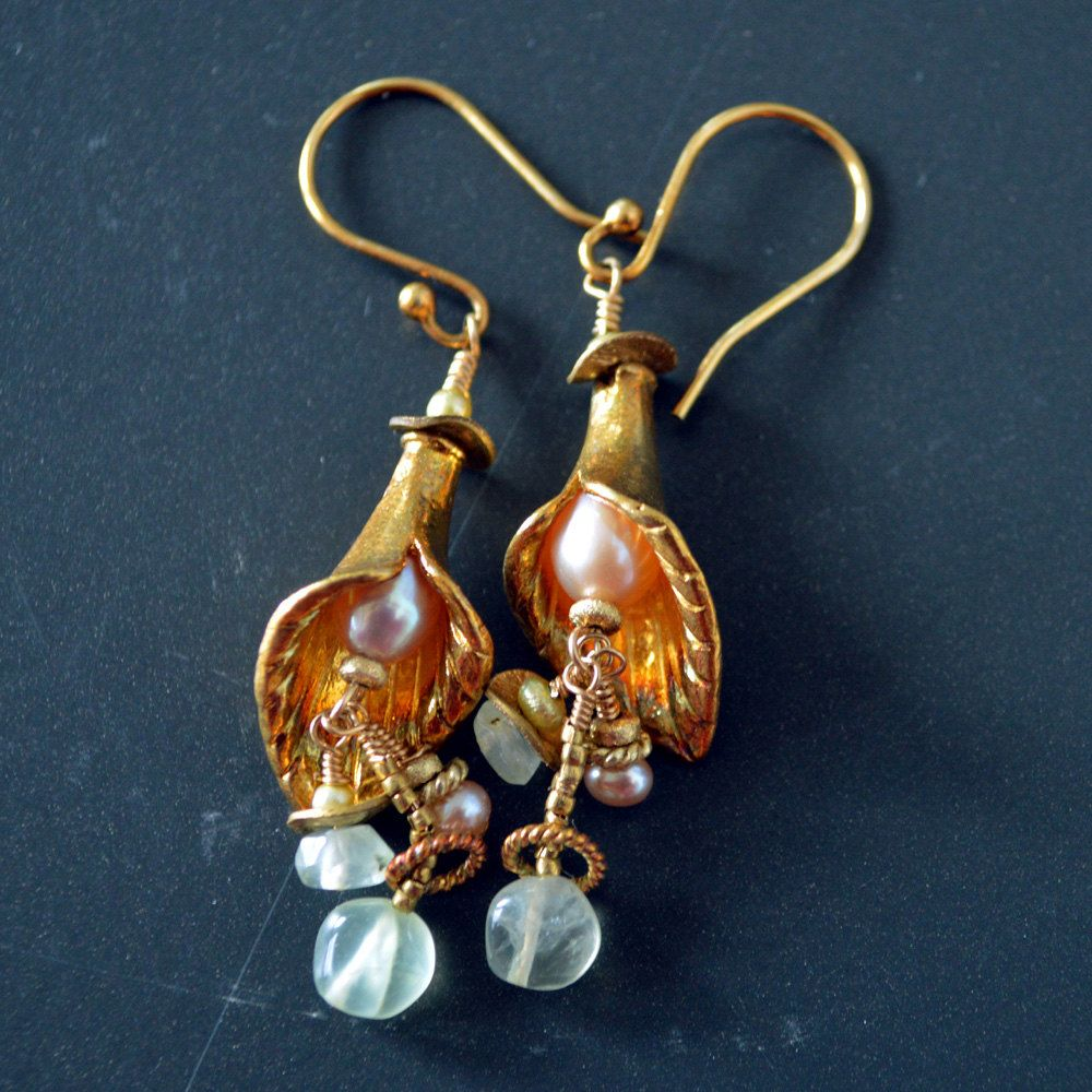 Lily Bell Earrings - Gemstone Dangle Earrings in Gold - Pink Pearl and Green Earrings - Bridal Bridesmaid