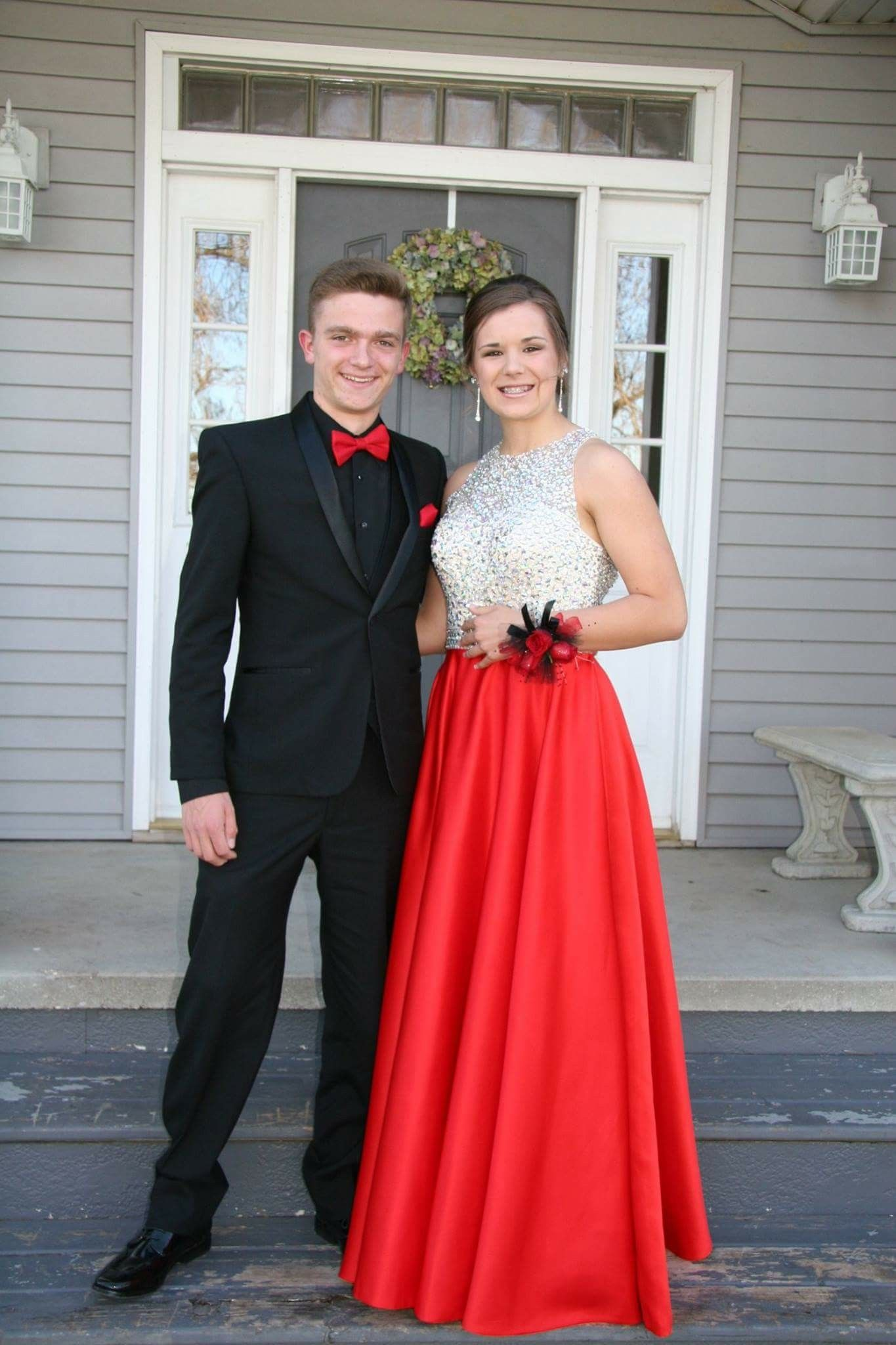 Prom Red Tux With Red Dress Red Prom Dress Prom Tux Homecoming Outfits