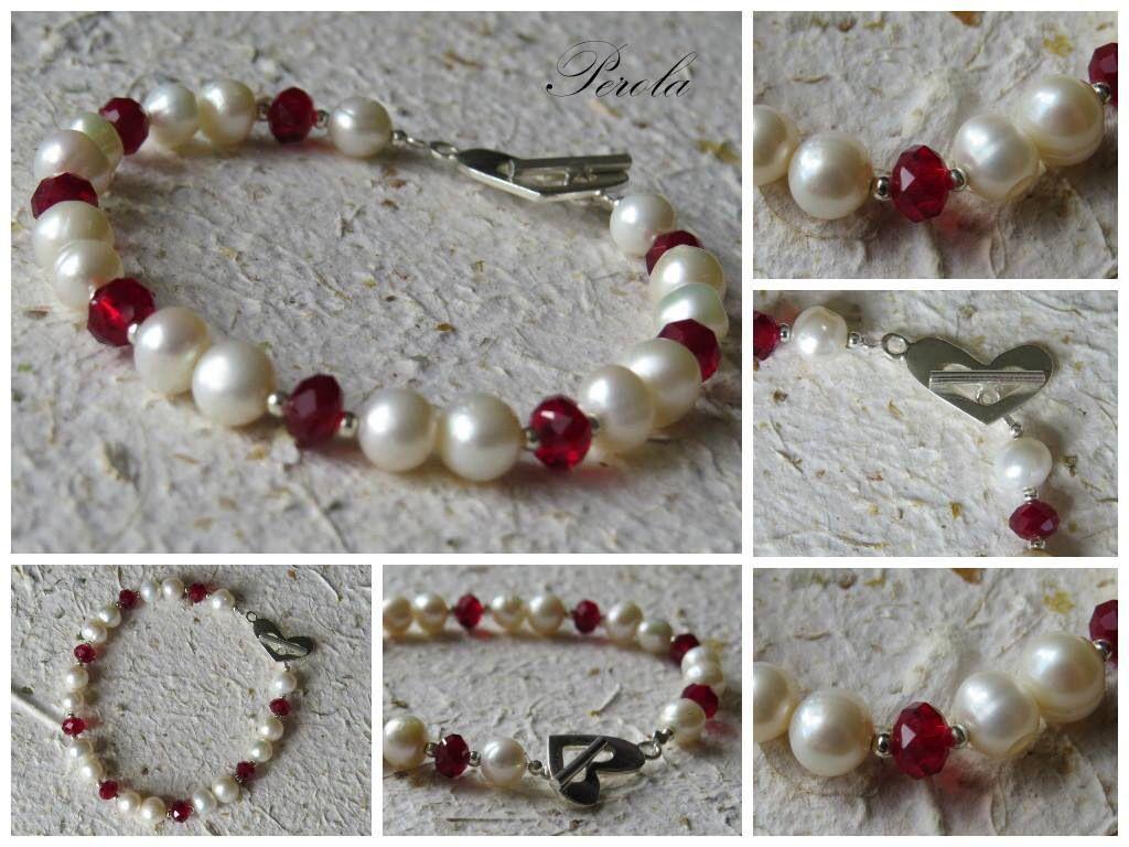 Pulsera de muranos rojos, perlas y broche de corazon en plata!!!
