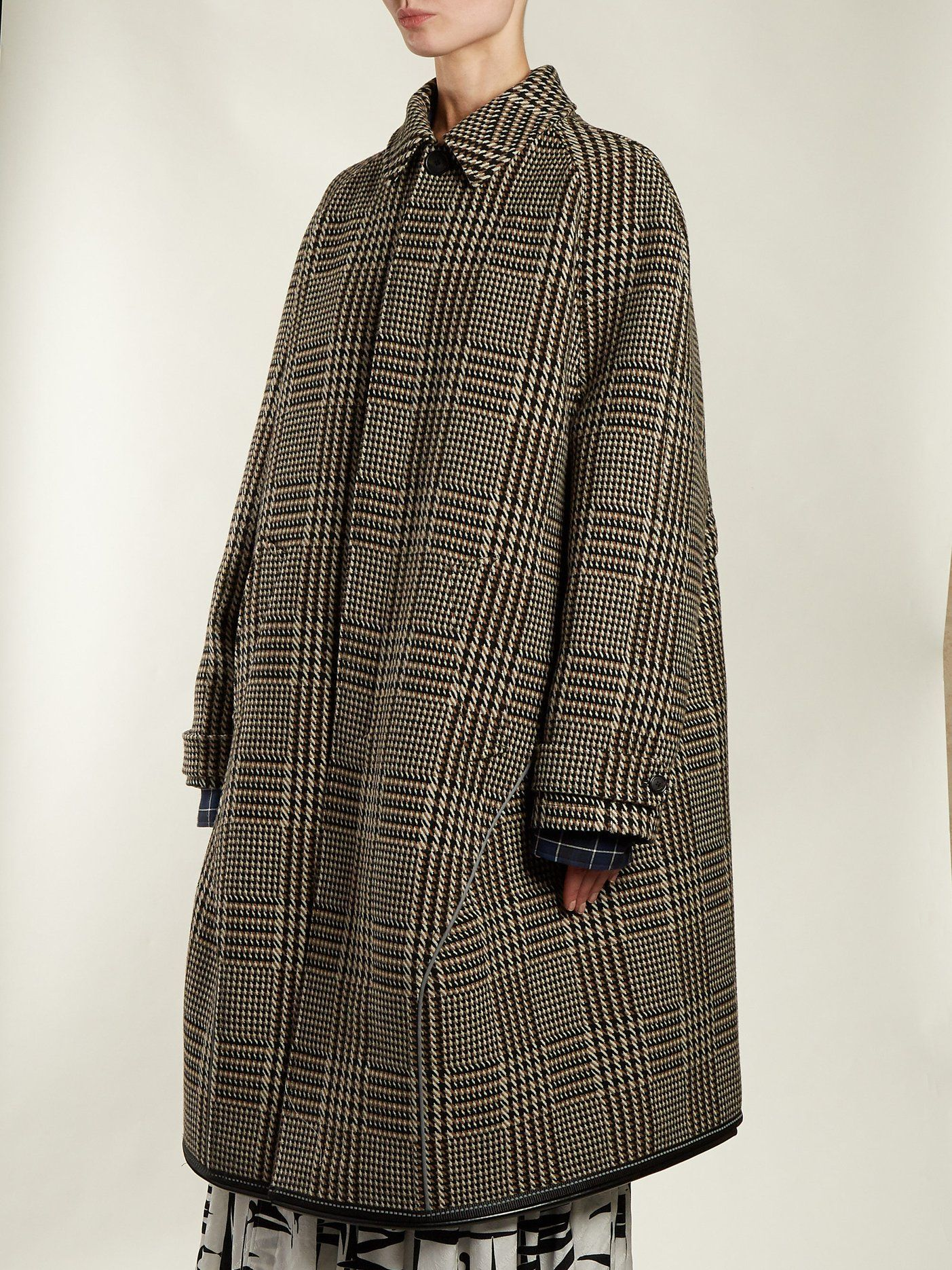 60238450bd09 Reflective-detail checked wool coat